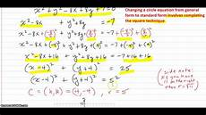 given a circle equation in general form change to