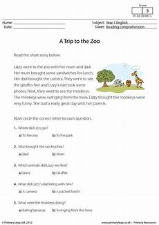 primaryleap co uk reading comprehension a trip to the zoo worksheet comprehension