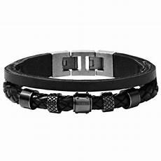 fossil jf00500 herren armband edelstahl leder schwarz