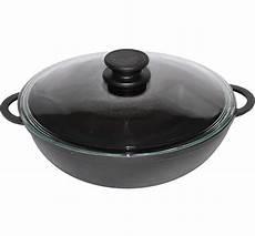 biol gusseisen wok pfanne 5 liter 30 cm mit glas deckel
