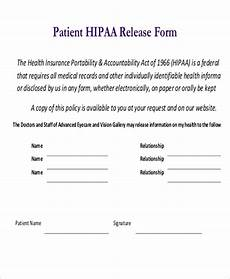 hipa release form free 10 sle hipaa release forms in pdf