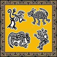 indianische muster malvorlagen set alte indianische muster tiere vektor abbildung