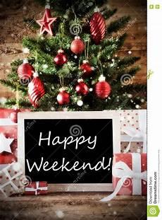 christmas tree with happy weekend stock image image of