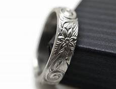 men s flower wedding band custom engraved art nouveau