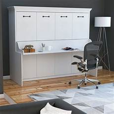 Adonis Horizontal Murphy Bed With Desk Combo White