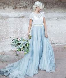light blue wedding gown white lace sheer detachable jacket crop top short sleeves tulle a line