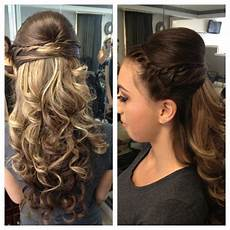 my curly half up do hair style for prom hair prom hair prom hair updo elegant prom hair medium