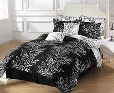 8pcs reversible black white tree branches duvet cover with sheet queen size