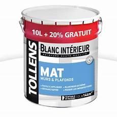 Peinture Tollens Murs Et Plafonds Blanc Mat 10l 20