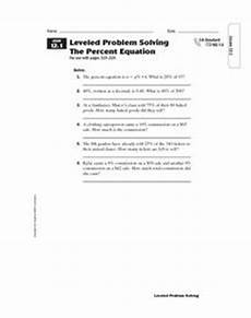 leveled problem solving the percent equation 6th 7th grade worksheet lesson planet