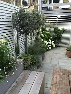 Kleiner Garten Modern - small rear garden in potted plants in front of