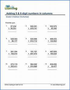 addition of fractions worksheets for grade 5 4227 grade 4 math worksheet addition adding 5 and 6 digit numbers k5 learning