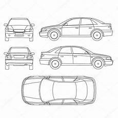 line diagram of car car linie zeichnen versicherung schaden zustand meldeformular mieten stockvektor