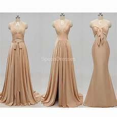 Mismatched Side Slit Gold Bridesmaid Dresses Wg229