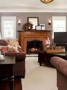 primitive paint colors with brick fireplace kitchen