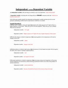 independent dependent variables worksheets
