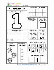 number worksheets for kindergarten number 1 worksheet
