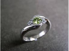 Wedding Ring With Green Sapphire In 14K White Gold on Luulla