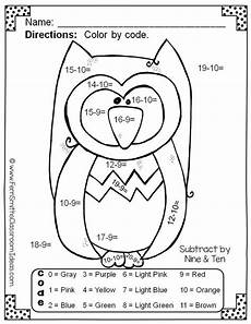 color by numbers funky owls subtraction first grade subtraction activities classroom