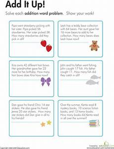 2nd grade math addition word problems worksheet addition word problems add it up worksheet education