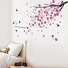 walplus stickers muraux fleurs roses hirondelles d 233 cor