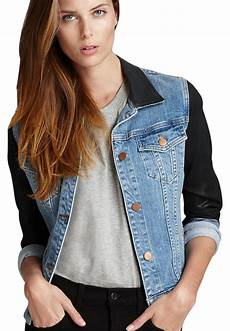 j brand coated sleeve denim denim black womens jean jacket