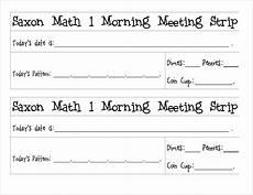 free printable saxon 1 meeting strips to laminate and reuse saxon math math meeting