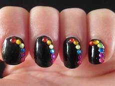 piggieluv rainbow rhinestones nail art