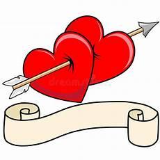 Malvorlagen Herz Mit Pfeil Zwei Herz Pfeil Mit Rolle Vektor Abbildung Illustration