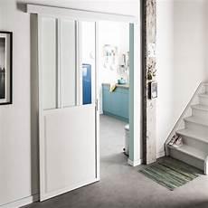 Porte Coulissante Aluminium Blanc Atelier Verre Clair