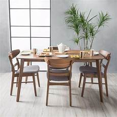 helen mid century fabric wood finish 5 piece dining set