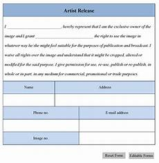 artist release form editable forms