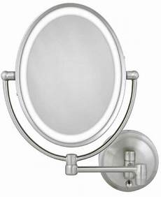 wall mounted lighted makeup mirror battery zadro 1x 10x cordless corded oval led lighted wall
