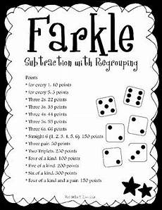 farkle a subtraction with regrouping game by angie