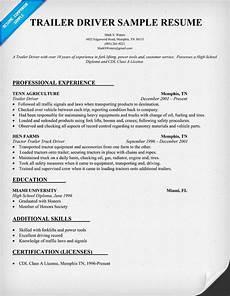 trailer driver resume sle resumecompanion com