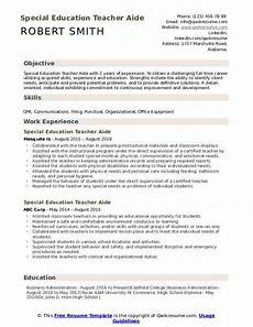 special education teacher aide resume sles qwikresume