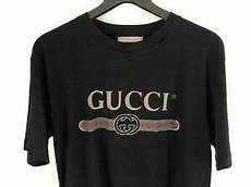 shirt femme gucci gucci s black distressed logo print cotton t shirt