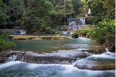 lovely cascading waterfalls in the tropical island of jamaica download image now