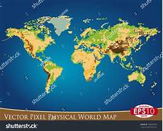 vector illustration physical world map pixel stock vector 188244920