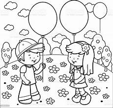 children at the park with balloons coloring book