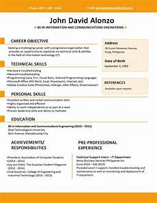 resume template for fresh graduate sle resume format for fresh graduates one page format jobstreet philippines
