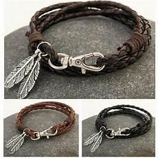Fashion Leather Wrap Braided Wristband Cuff Mens