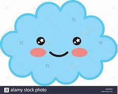 Kawaii Happy Cloud Character Vector Illustration