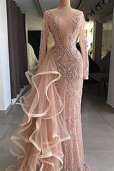 2019 gorgeous chagne pink long sleeves mermaid formal mother prom dress evening dress with