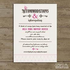 Accommodation Cards For Wedding Invitations