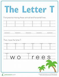 practice tracing the letter t worksheet education com