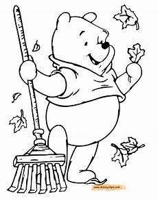 winnie the pooh fall and winter coloring pages