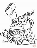 Cute Easter Bunny And Eggs Coloring Page  Free Printable
