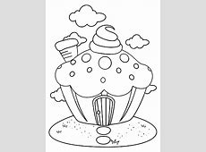 Cupcakes: kleurplaten cupcake huis