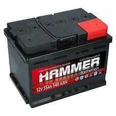 autobatterie hammer 12v 55ah starterbatterie wartungsfrei